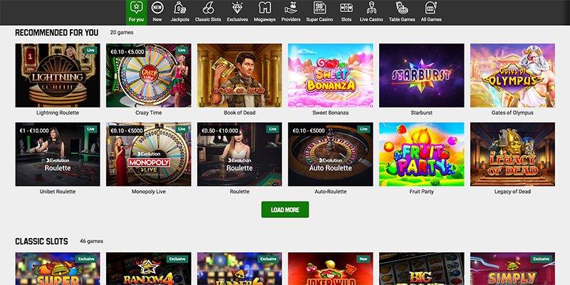 het online casino van unibet