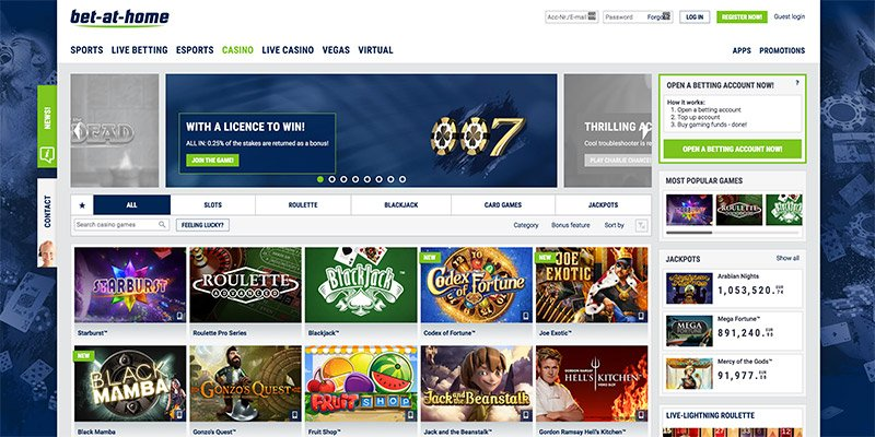 online casino bet at home